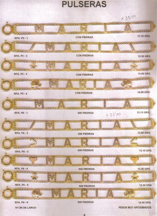 pulsera nombre oro plata