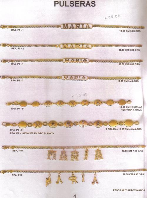 4124bc5317f9 pulsera nombre oro plata