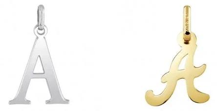 6607452ba7f6 colgantes letras oro plata