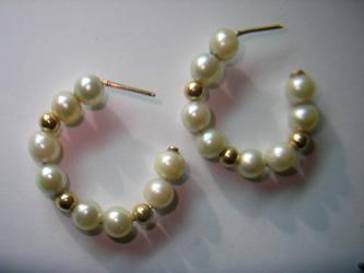pendientes oro perlas