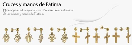 pendientes cruces manos fatima oro plata