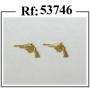 pendientes oro pistola