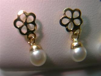 pendientes flor perla