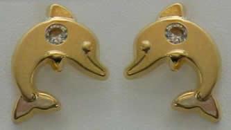 pendientes delfin circonita