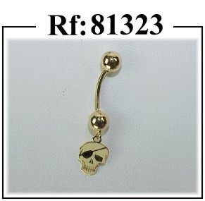 piercing oro ombligo calavera