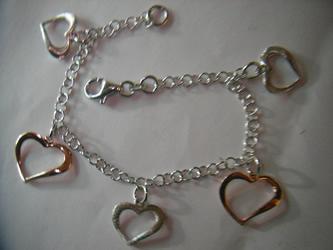 pulsera plata corazon rojo